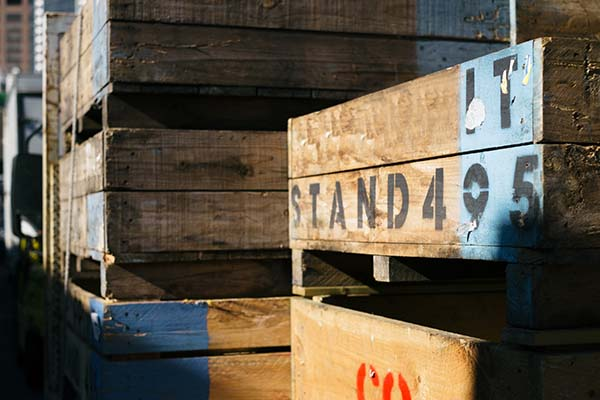 Old Fruit crates at market